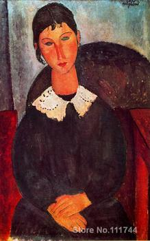 Painting by Amedeo Modigliani Elvira with a white collar Portrait art handmade High Quality