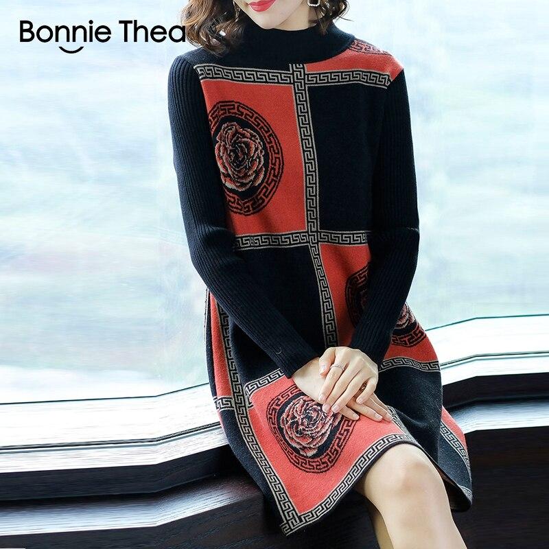 Bonnie Thea women winter Turtleneck Sweater dress female Elegant black knitting party dress vestido lady autumn dresses 2018 in Dresses from Women 39 s Clothing