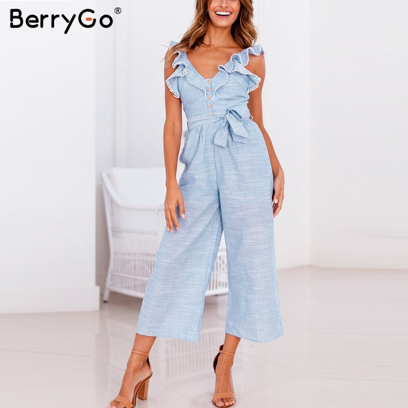 BerryGo women rompers jumpsuit striped playsuit Ruffled button jumpsuit casual Summer wide leg overalls cotton linen Sleeveless