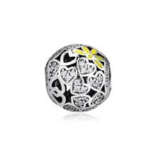 Genuine 925 Sterling Silver Bead Sparkling Hearts Daisy Charm Fits Pandora Bracelet Beads for Jewelry Making Women Gift Kralen цена