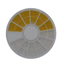 WUF 1 Wheel 3D Nail Art Golden/Silver Steel Beads Caviar Nail Art Set Tip Rhinestone Decoration For Manicure Nail Tools(China)