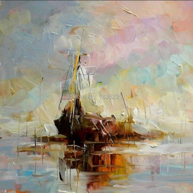 US $38.76 49% di SCONTO|2019 nuovi fatti a mano moderna paesaggi marini  dipinti ad olio barche e la spiaggia bellissimo paesaggio di quadri a olio  per ...