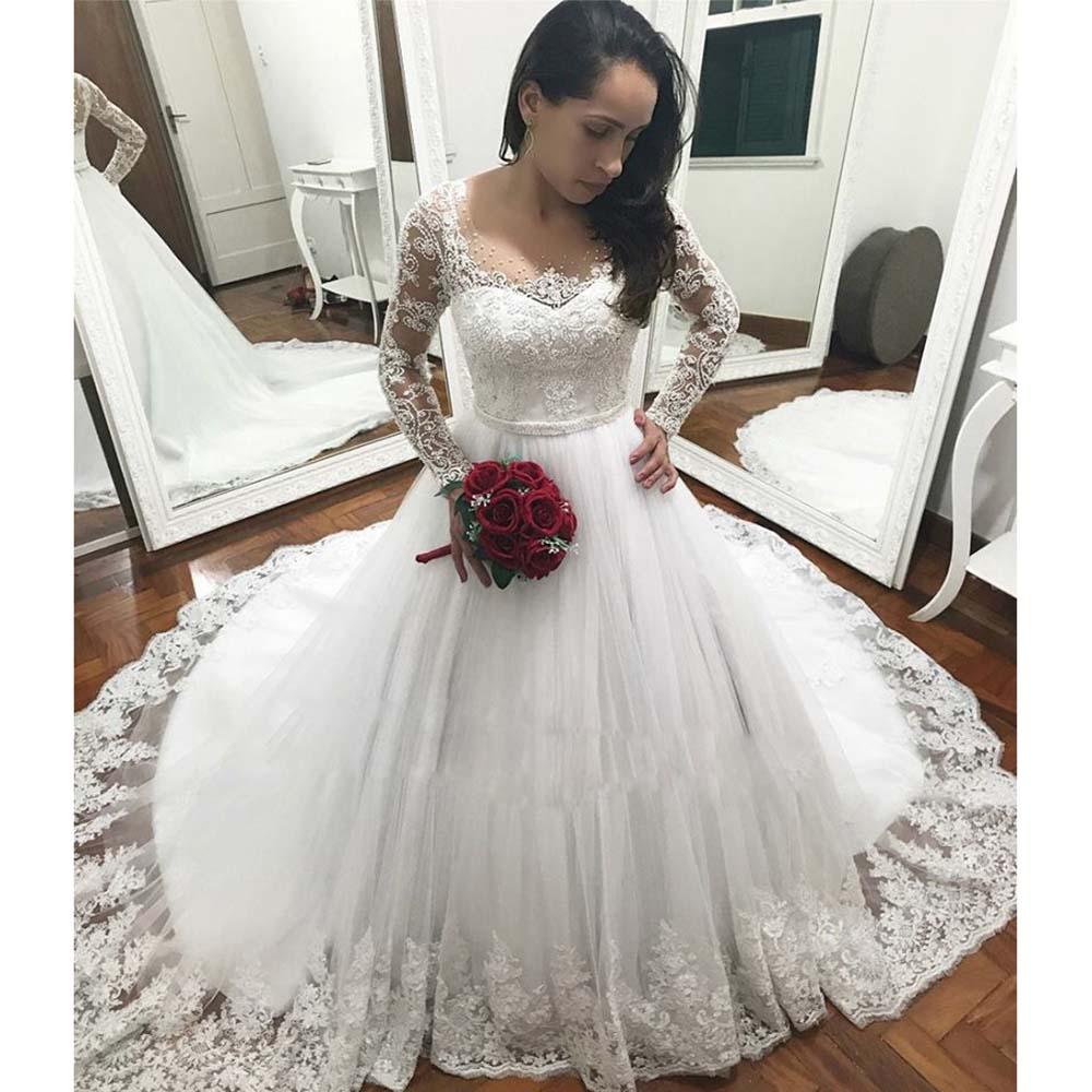 Robe De mariée à manches longues Vestido De Noiva perles Appliques De luxe robes De mariée bohème sur mesure 2019 Casamento Brautkleid