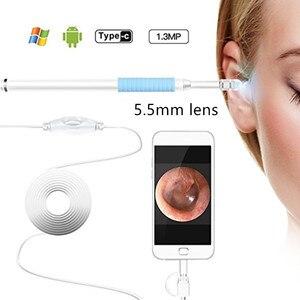 Image 2 - 3IN1 الأذن تنظيف USB المنظار كاميرا 5 ملليمتر البصرية الأذن ملعقة Earpick منظار الأذن كاميرا لالروبوت ويندوز
