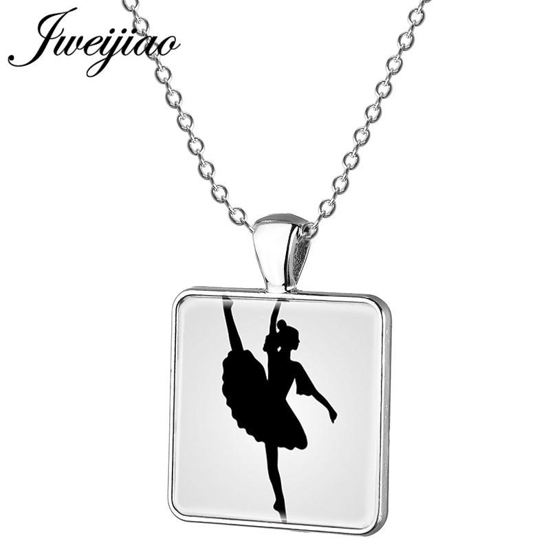 JWEIJIAO Romantic waltz /Ballet,/Tango Dancer Necklace Figure Silhouette Square Pendant Clothes Accessories Chain DS38