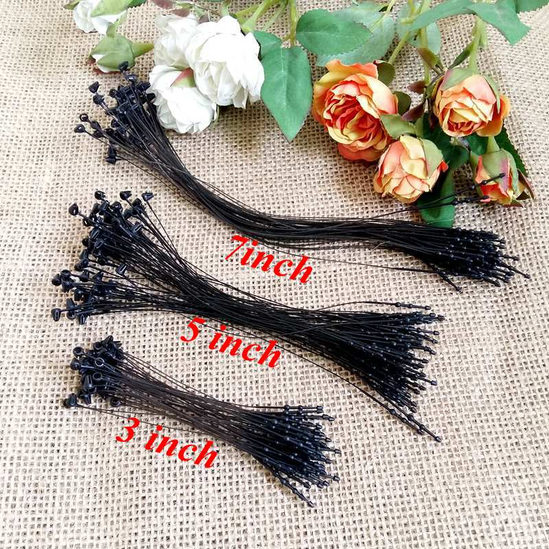 "1000pcs/pack 3"" 5"" 7"" black Garment Price Tag Barbs Security Loop snap Lock Plastic Tag Fastener Hang Ties"