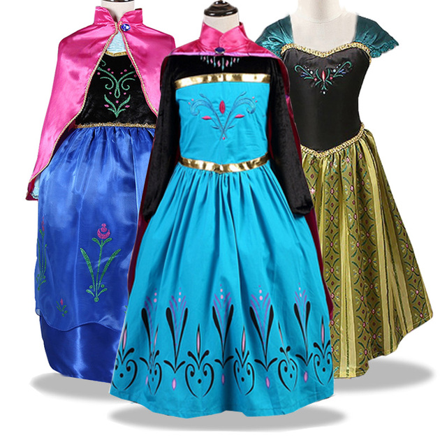 תינוקת נסיכת אלזה שמלה עבור בנות אנה אלזה קוספליי אלזה תלבושות ליל כל הקדושים חג המולד עבור יום הולדת מסיבת Vestidos Menina