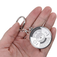 1PC New Portable 50 Years Perpetual Calendar Keyring Keychain Silver Alloy Key Chain Ring Keyfob Hand Tools Machine Tools & Accessories