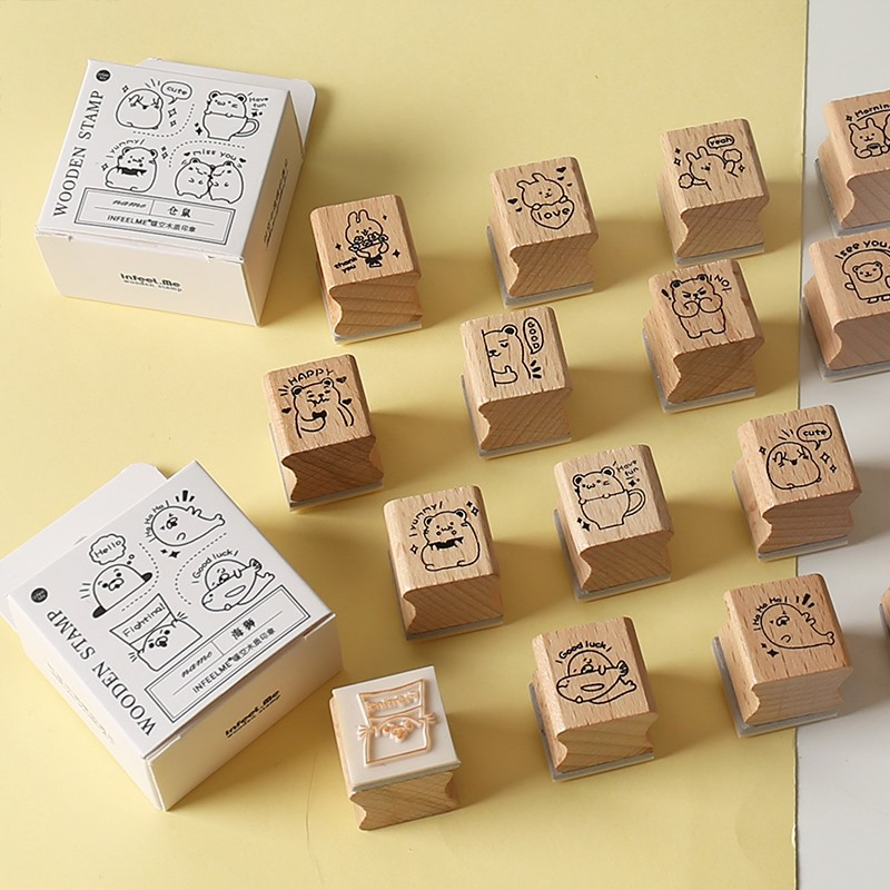 Kawaii Hamster Rabbit Stamp Set DIY Craft Wooden Rubber Stamps For Scrapbooking Stationery Scrapbooking Standard Stamp