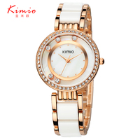 Kimio Ultra Slim Top Brand Woman Watches Fashion Ladies Crystal Clock Black Ceramics Gold Luxury Women