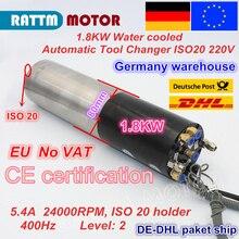 Электродвигатель шпинделя с водяным охлаждением, 1,8 кВт, ATC, автоматическая смена инструмента, Постоянная мощность ISO20, Электрический шпиндель для фрезерного станка с ЧПУ