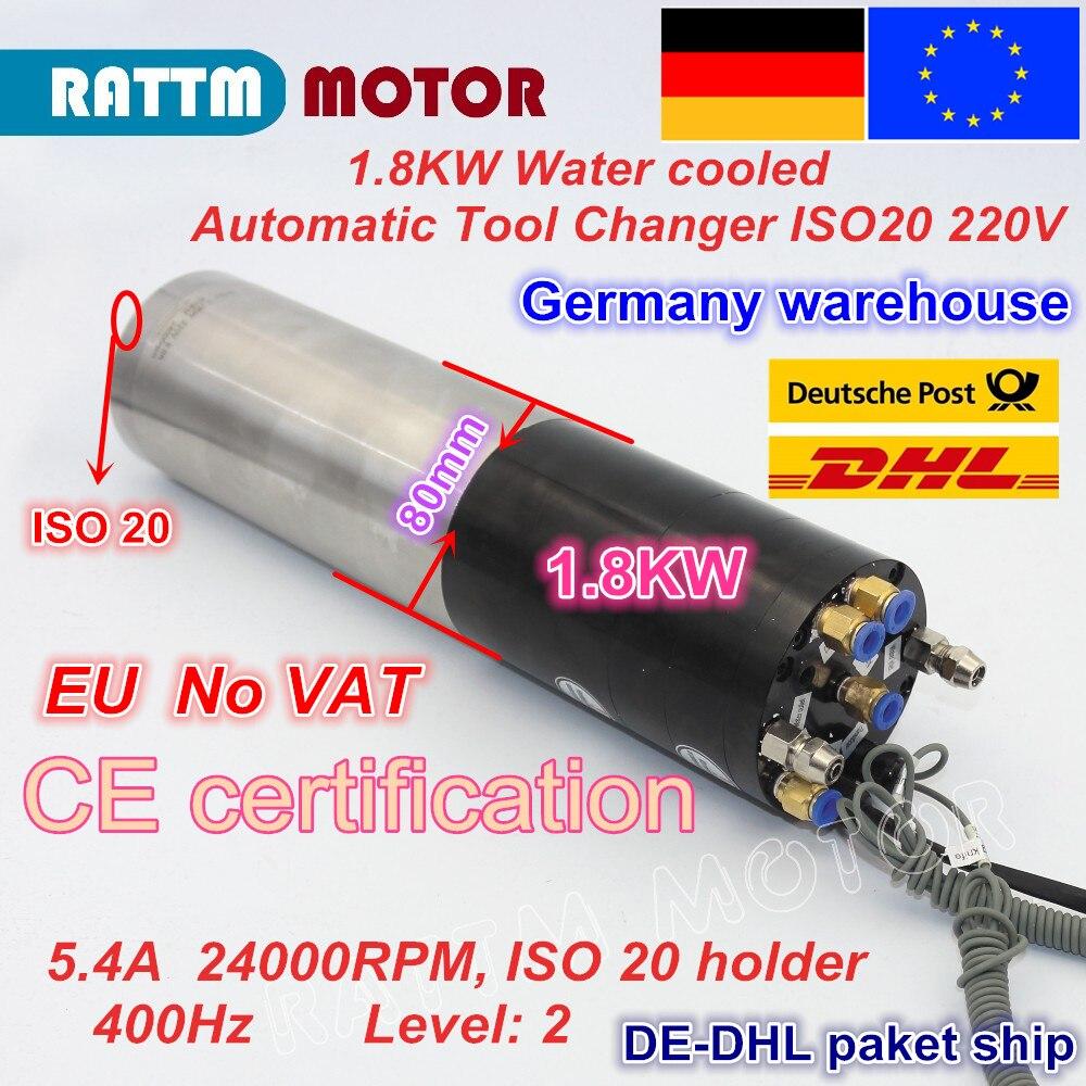 Broche électrique de puissance permanente ISO20 de moteur d'axe refroidi par eau de changement d'outil automatique de 1.8KW ATC pour la fraiseuse CNC