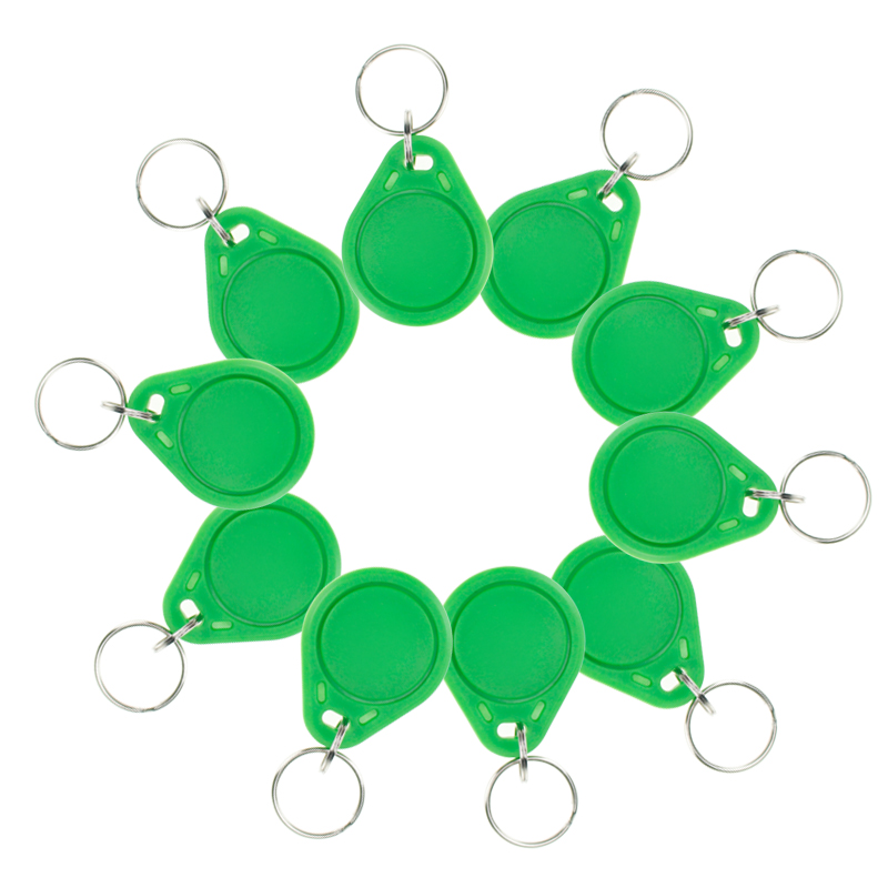 10pcs RFID ABS smart tags Green keyfobs I3.56 MHz IC keychains NFC tags ISO14443A MF Classic® 1k access control keycard new design rfid ic keyfobs i3 56 mhz keychains nfc key tags iso14443a rfid mf classic 1k tag for smart access control system
