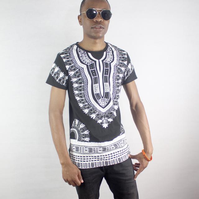 Dashikiage Cotton Dashiki Printed Traditional T-shirt hip hop African Clothes Casual Man tops & tees 2019