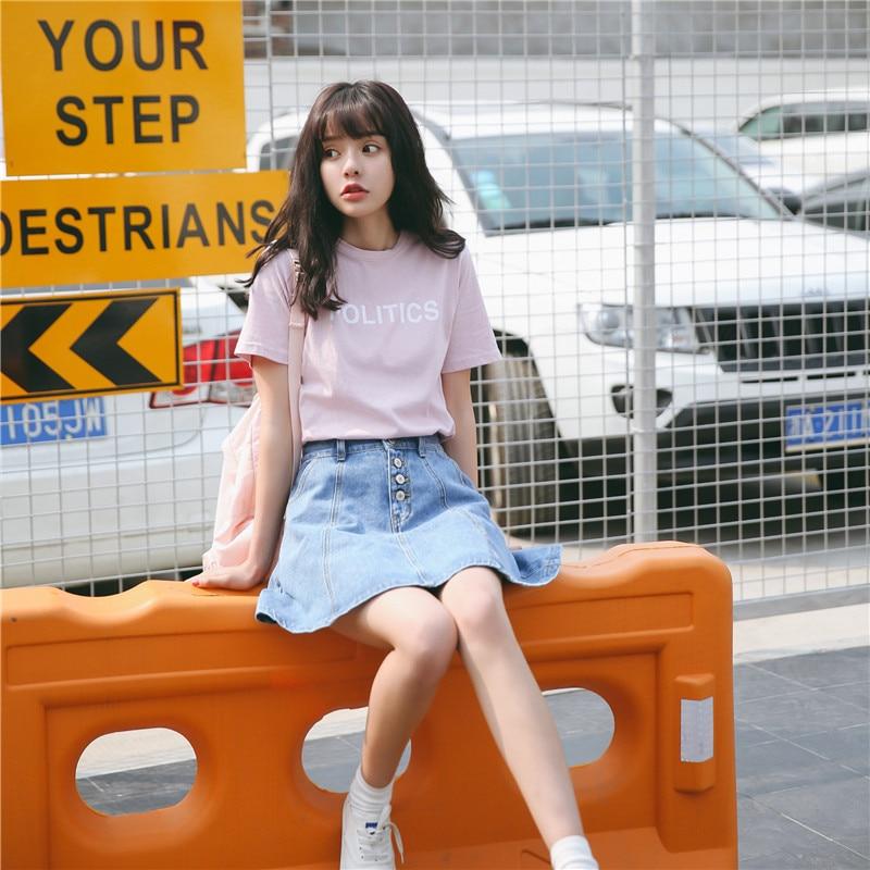 Summer  Harajuku Shirt Women Korean Style Ulzzang Fashion Retro Character Politics Printing Back Change Pink