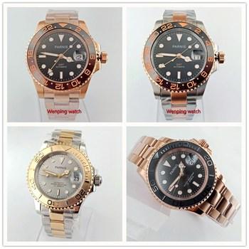 Parnis 40mm gray black dial golden Sapphire glass Ceramic bezel GMT automatic mens watch W2705