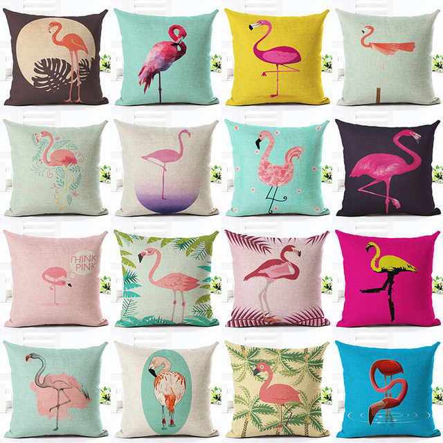 Us 6 0 2016 Online Hot Sale Home Decor Cute Flamingo Printed Throw Pillow Case Carded Houseware Gift Cushion Cover Decorar Cojines In Cushion Cover