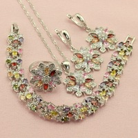 Trendy New Top Flower Multocolor Crystal Silver Color Jewelry Sets For Women Drop Earrings Bracelet Necklace