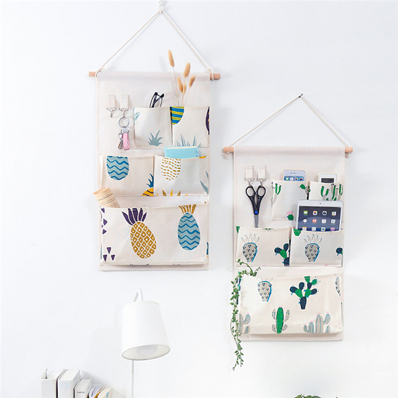 New Hanging Storage Bag Multiple Pockets Storage Hanging Bag Wall Mounted Door Pouch Room Organizer Underwear Socks Bag#25j10 (4)