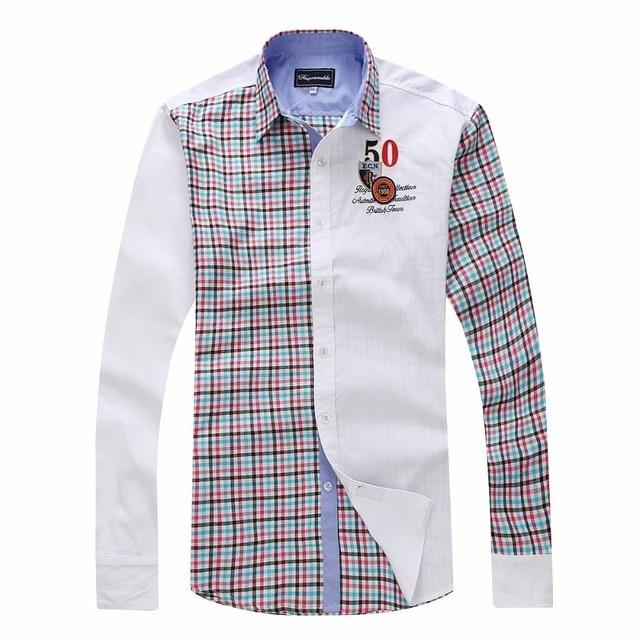 2ab769be0354a Faconnable Chemise masculine Fashion Brand Men Clothes Eden Slim Fit Long  Sleeve Shirt Patchwork Plaid Cotton