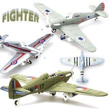 1Pcs  Random Color 1/48 Assemble Simulation Fighter Model Toys Building Tool Sets Aircraft Diecast War-II Hurricane Fighter