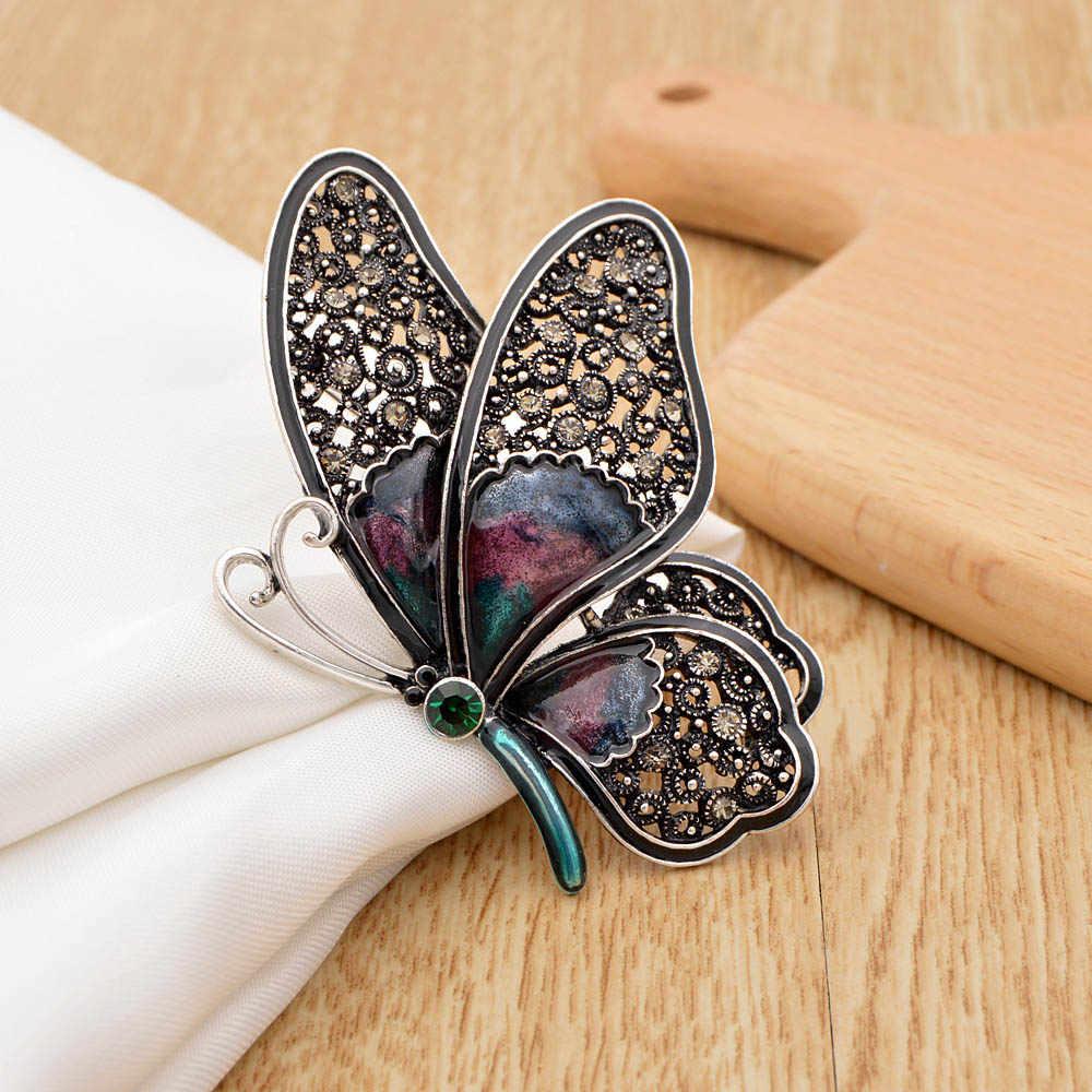 Cindy Xiang Rhinestone Besar Butterfly Bros untuk Wanita Elegan Colorful Serangga Pin Vintage Fashion Indah Pin Hadiah Yang Bagus