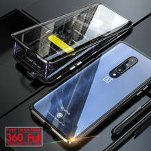 360 Full Cover Tempered Glass Case For Oneplus 7 Pro Shockproof Magnetic Metal Bumper Phone for Oneplus7
