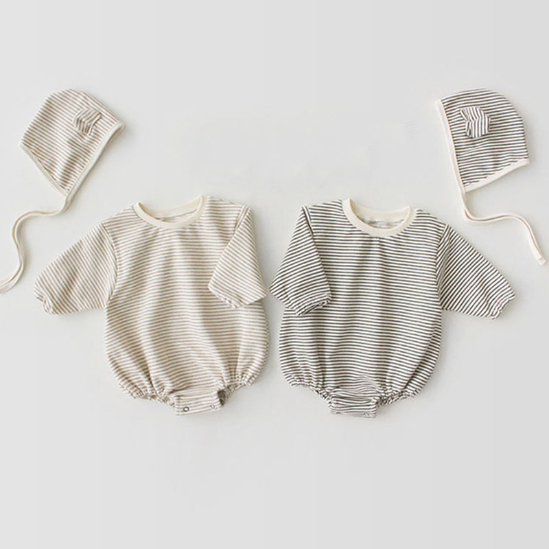 1-3Yrs Baby Boy Girl Romper Spring Stripe Long Sleeve Cotton Fashion O-Neck Rompers +Hat Infant Baby Jumpsuit