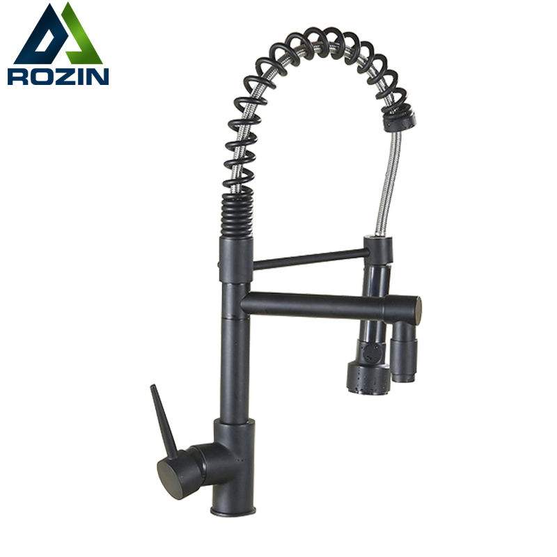 Pull Down Sprayer Hot and Cold Water Kitchen Sink Faucet Mixer Taps with Bracket Bar Kitchen Faucets Deck Mounted Dual Spout new pull out sprayer kitchen faucet swivel spout vessel sink mixer tap single handle hole hot and cold