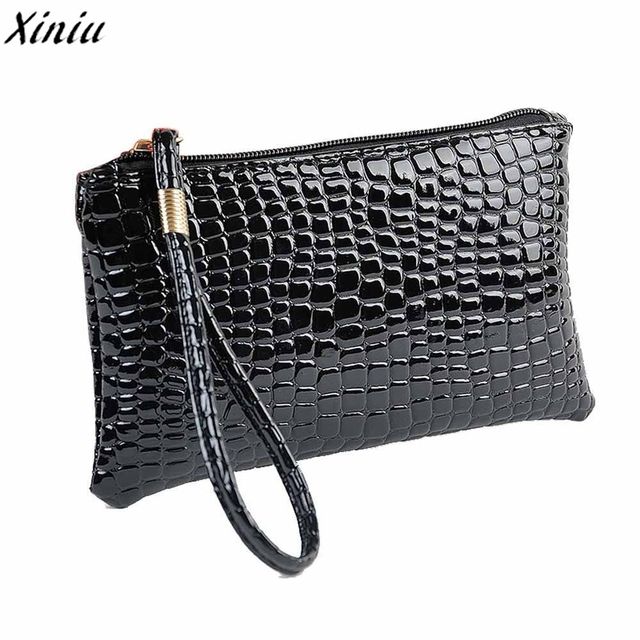 edd2f015b1f7 Women Coin Purse Black Crocodile Pattern Leather Clutch Wallet Bag Fashion  Design Coin Pouch Monederos Mujer