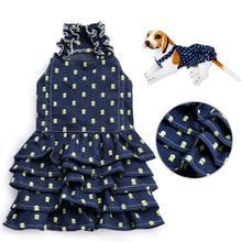 2019 pet spring and summer denim Skull Print Dress Pet Princess Clothes Dog