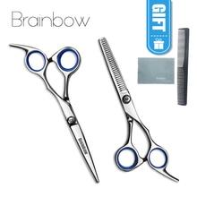 Brainbow 6 дюймов Резка истончение инструмент для укладки волос ножницы нержавеющая сталь салон Парикмахерские ножницы регулярные плоские зубы