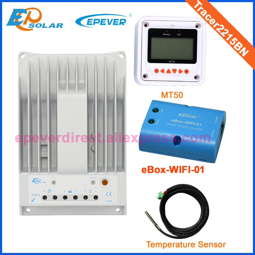 Solar 24v 20A 20amp battery charger controller EPEVER brand product Tracer2215BN+temperature sensor wifi function and MT50 meter solar 24v 20a 20amp battery charger controller epever brand product tracer2215bn temperature sensor wifi function and mt50 meter