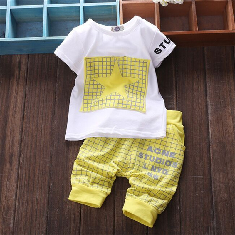 Baby boy clothes 2018 Brand summer kids clothes sets t-shirt+ shorts clothing set Star Printed Clothes newborn suits BCS328 1
