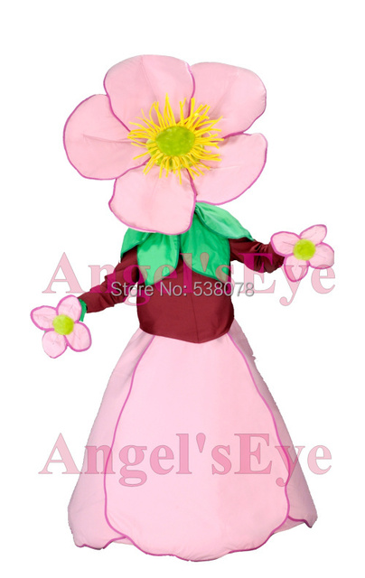 Beautiful Pink Flower Mascot Costume Adult Cartoon Theme Performance Props Carnival Advertising Fancy Dress Kits