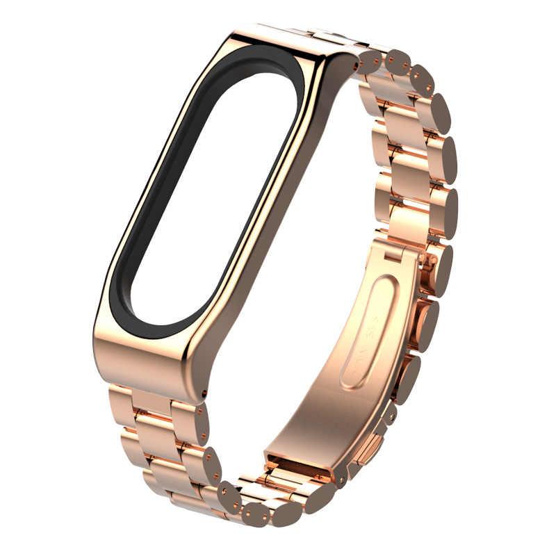 Mijobs Mi Band 3 Strap Metal Bracelet Smart Band Accessories for Xiaomi mi band 3