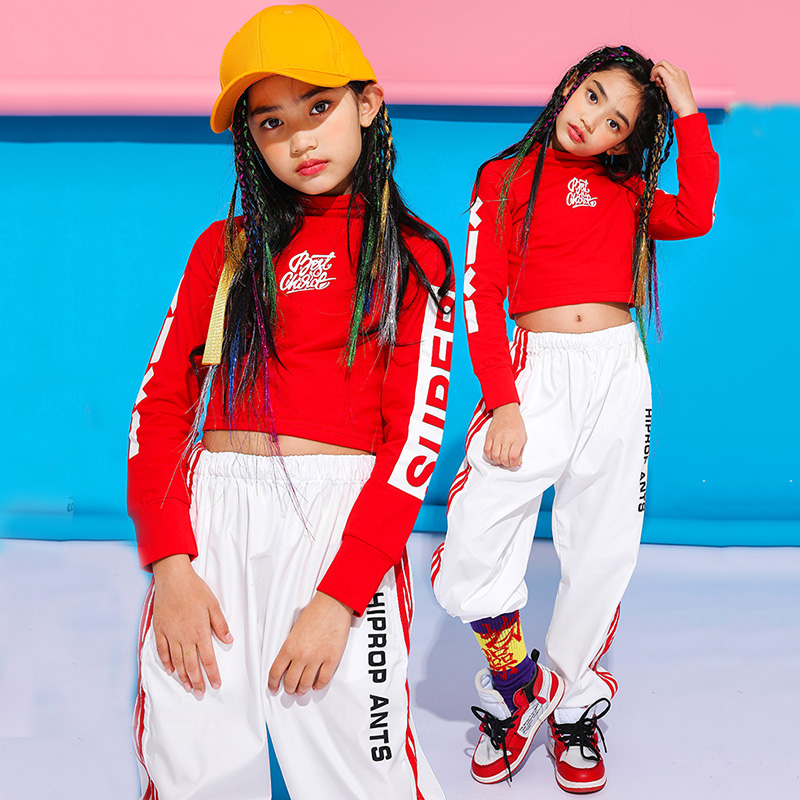 Girls Jazz Dance Costume Fashion Red Hip Hop Stage Outfit Kids Street Dance Practice Clothes Child Performance Clothing DC1930
