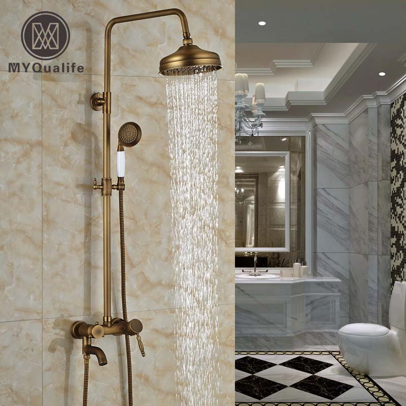 Modern Wall Mount Artistic Brass Shower Faucets Set Single Handle Tub Shower Mixer Tap with Handheld Shower