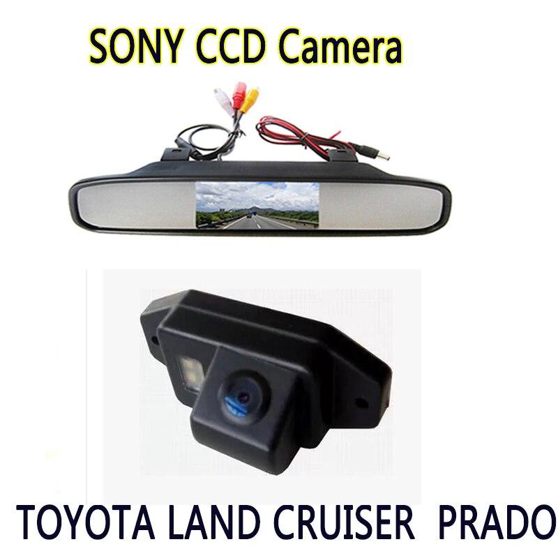 Moniteur de rétroviseur de voiture TFT LCD couleur 4.3 pouces + caméra HD de Vision nocturne pour TOYOTA LAND CRUISER PRADO 2700 4000