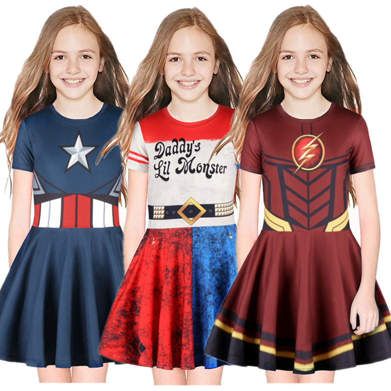 Girl Captain America, Flash, Halle Quinn, Print Short Sleeve Dress Kids Sleeve Cute Pleated Skirt Halloween Cosplay Dress