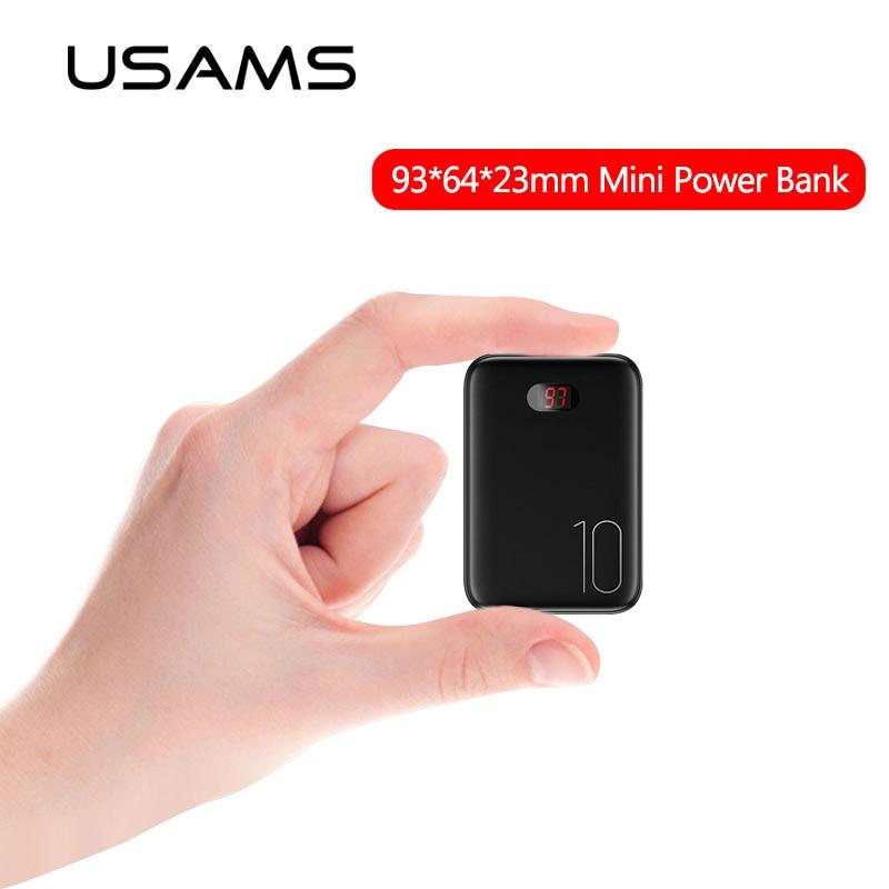 Mini batterie externe 10000mAh USAMS Powerbank portable batterie externe charge rapide powerbank LED affichage pour iPhone Samsung Xiaomi