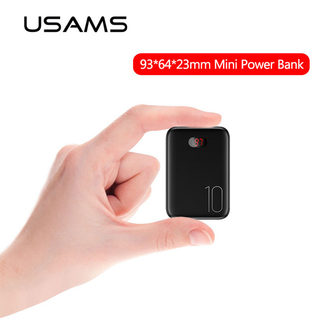 USAMS Mini Power Bank 10000mAh Powerbank portable external battery USB Battery Charger LED Display power charger for Xiaomi Mi 9