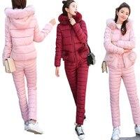 ALMUERK 2018 Winter Women Set Jacket Fur Hoody Pants two piece set top and pants tracksuit Oversize Warm Plus Size