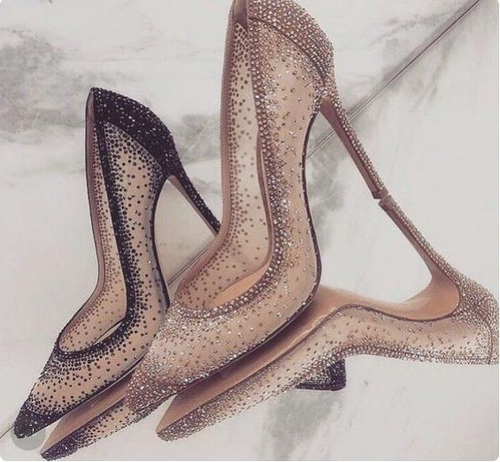 Sexy Gold Mesh Rhinestone Patchwork High Heel Shoes Champagne Glittering Heels Pumps Bling Bling Crystal Wedding Shoes Bride
