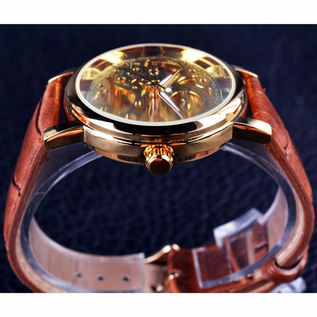Transparent Golden Case Luxury Casual Design Brown Leather Strap Mens Watches Top Brand Luxury Mechanical Skeleton Watch