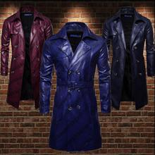 Mens trench coats man Double-breasted long coat men loose clothes faux leather overcoat long sleeve lapel punk red blue цены