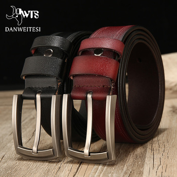 [DWTS]belt male cow genuine leather luxury strap male leather belt men new fashion classice vintage pin buckle