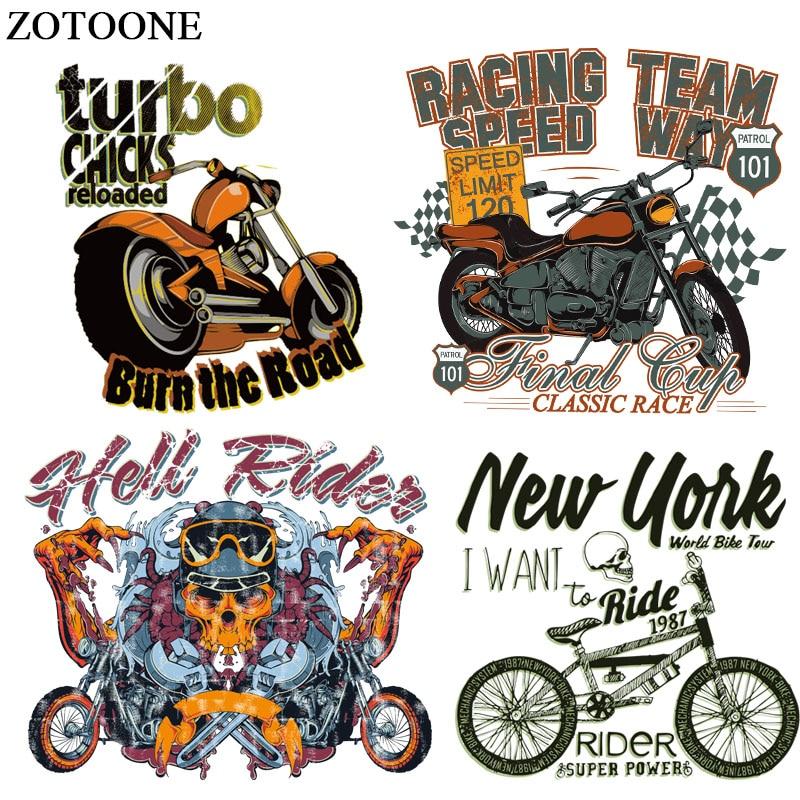 Мотоциклетные патчи ZOTOONE для мужчин, патчи для глажки, наклейки «сделай сам», термотрансферный аксессуар, моющиеся аппликации E