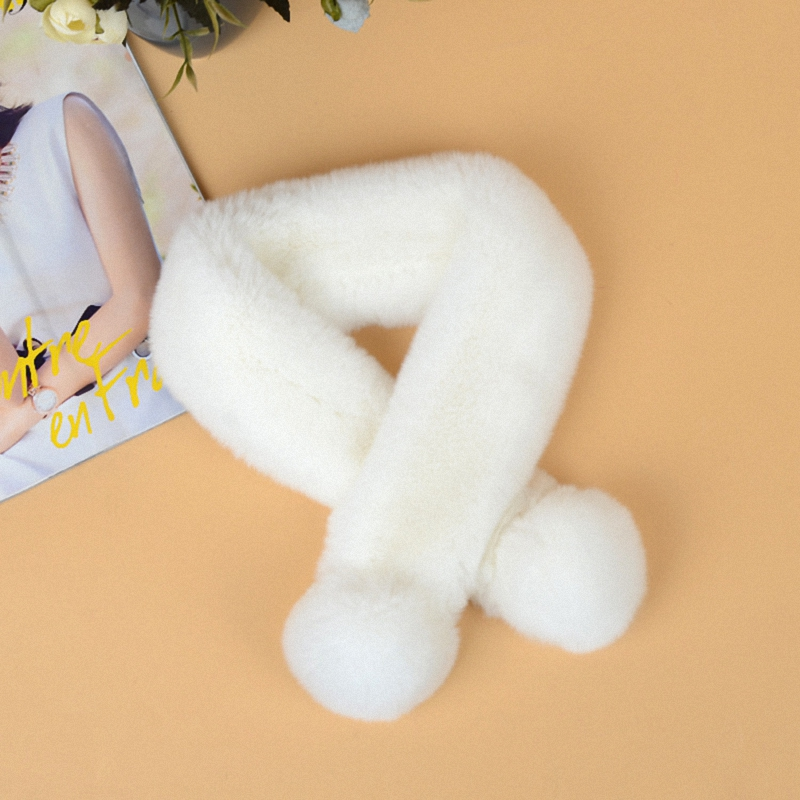New Style Real Fur   Scarf   Women Warm Winter High Quality Natural Rex Rabbit Fur   Scarves     Wraps   Female With Fur Pompom TKS013-white