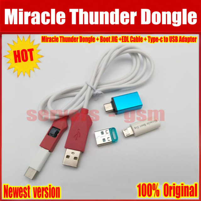 US $111 78 |2018 Newest Original Miracle Thunder Dongle +Miracle Boot JIG  +EDL Cable + Type c to USB Adapter no need miracle box and key -in Telecom